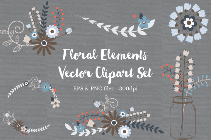 FREE -Flower Inspired Vector Clip Art Set
