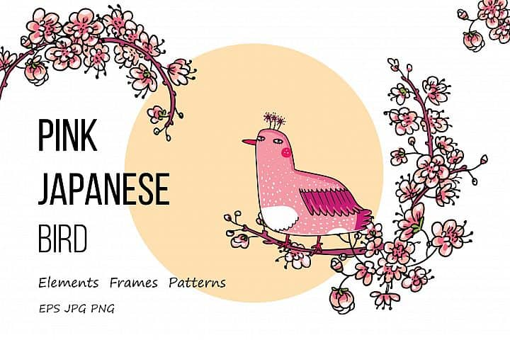 FREE Pink Japanese Bird and Floral Design