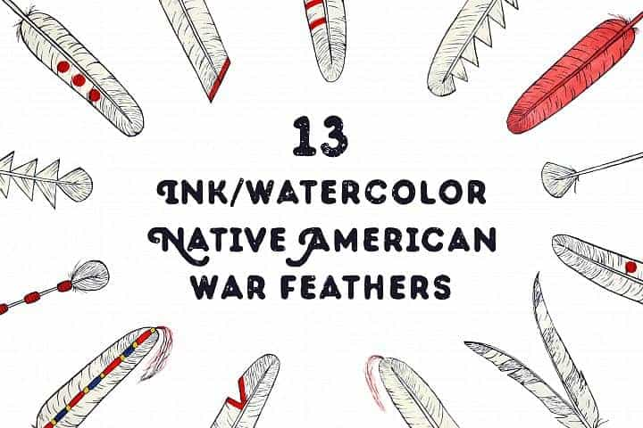 FREE – Hand Drawn Native American Feathers Design