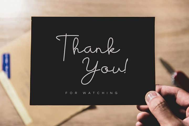 Free Housttik Handwritten Script Font on a Thank You card