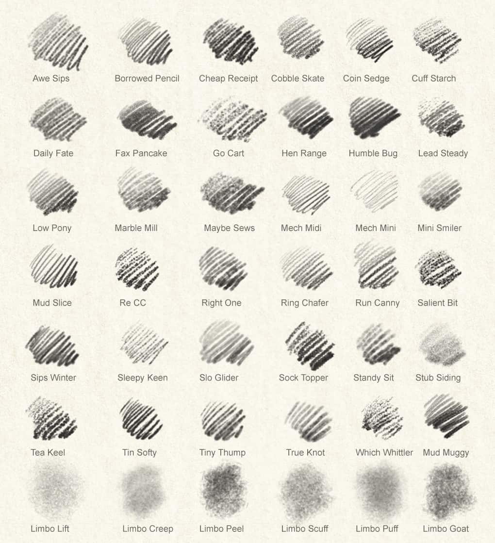 A collection of 42 Photoshop Pencil Brushes