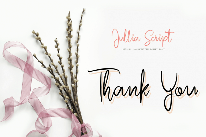 Free Julia Script Font used on a Thank You card