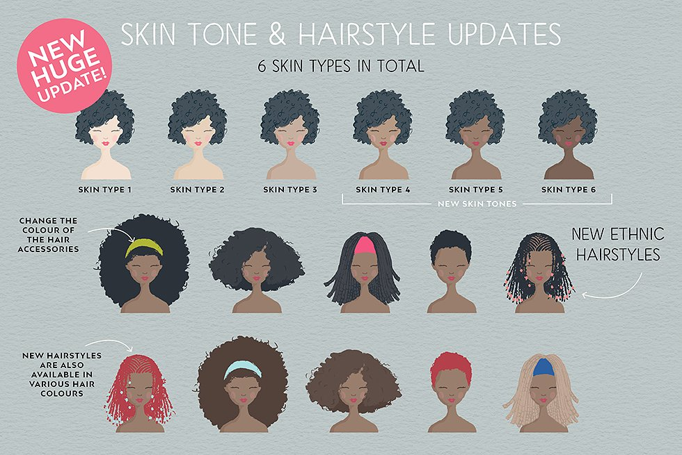 Multiple Skin Tones and Hair Styles with the Portrait Creator