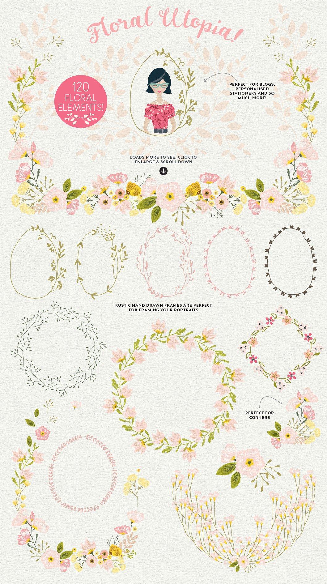 Floral Design Elements in Portrait Creator