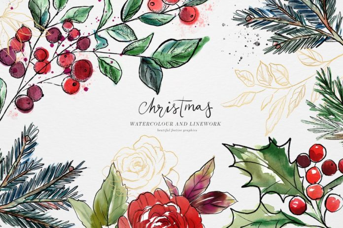 Christmas Design Bundle with wreath and elements