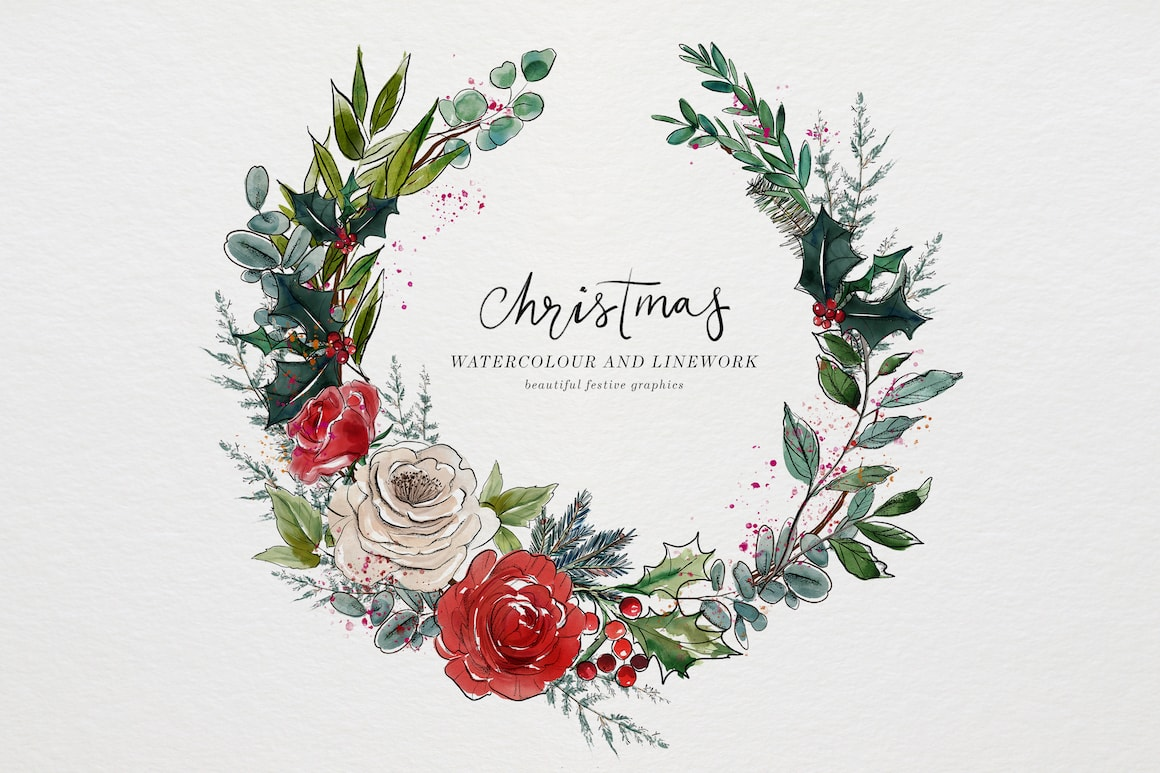 christChristmas Design Bundle with floral wreath