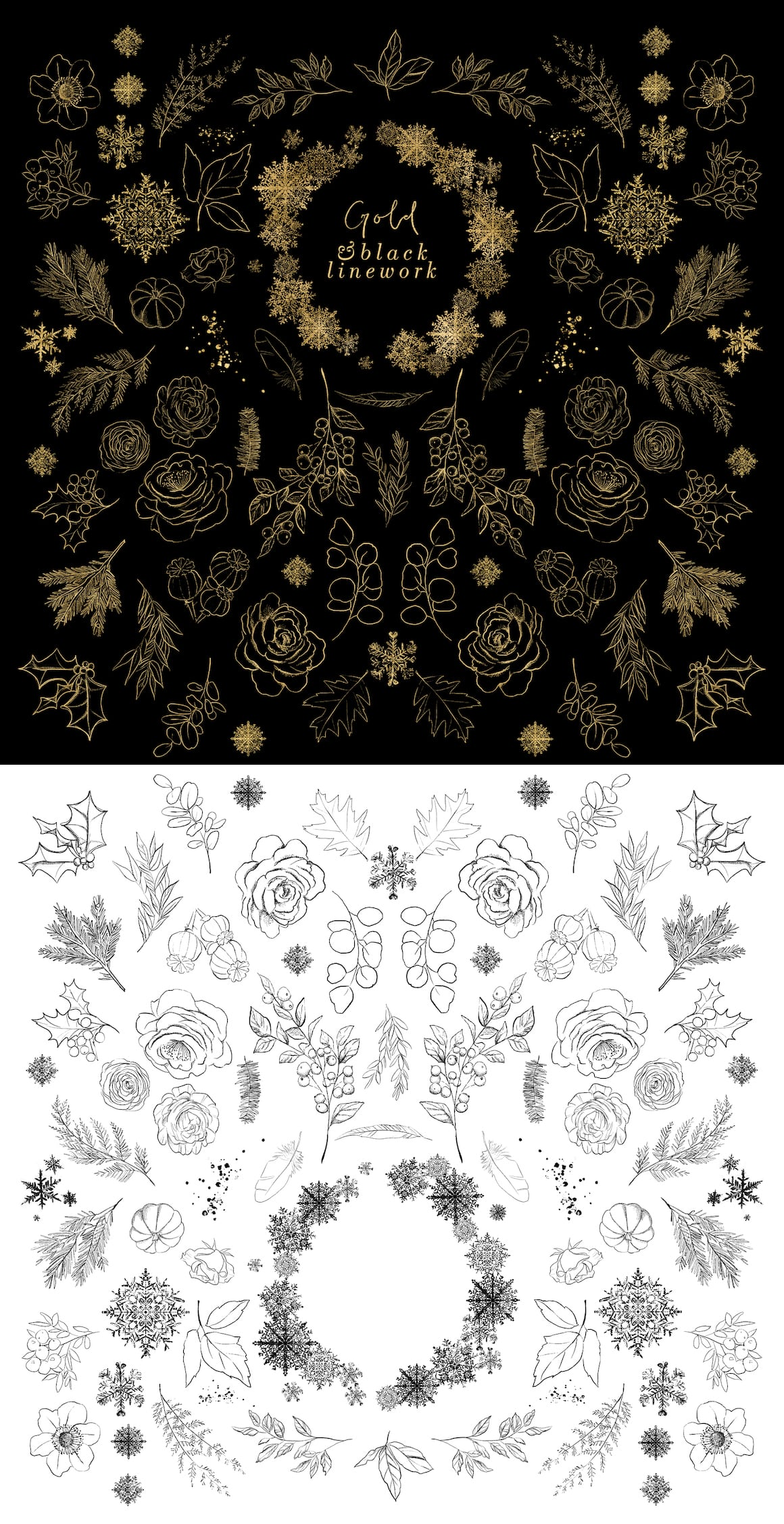 Christmas Design Bundle - Line Art Elements