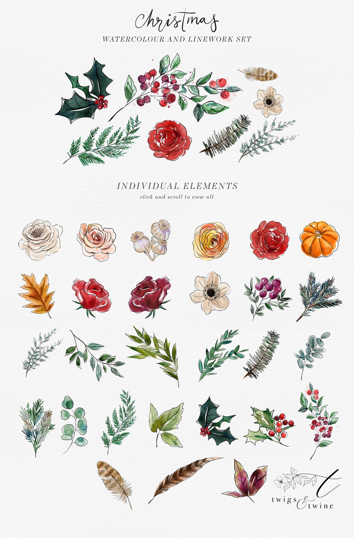 Christmas Design Bundle - floral clipart