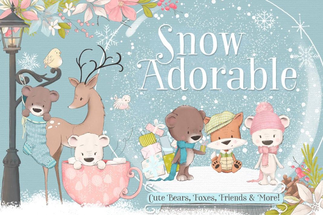 Snow Adorable Clipart Illustrations Bundle