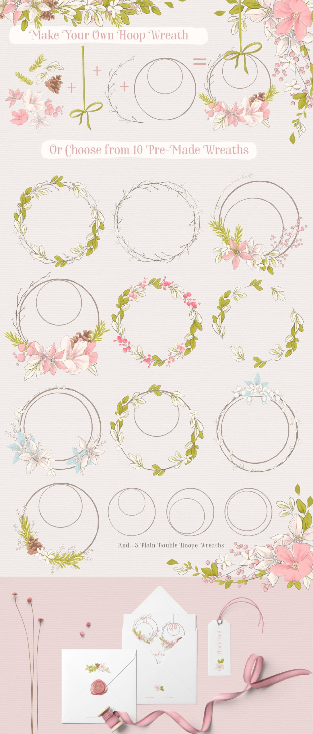 Winter clipart wreath elements