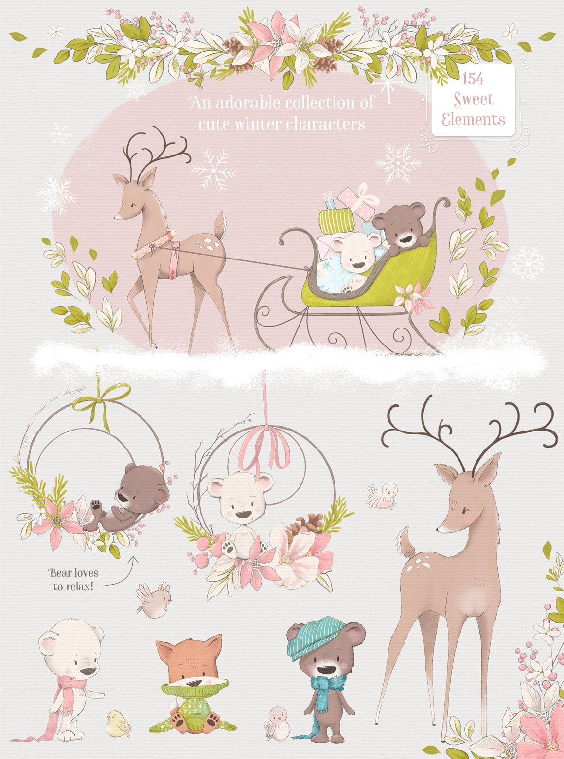 Winter and Christmas clipart illustations