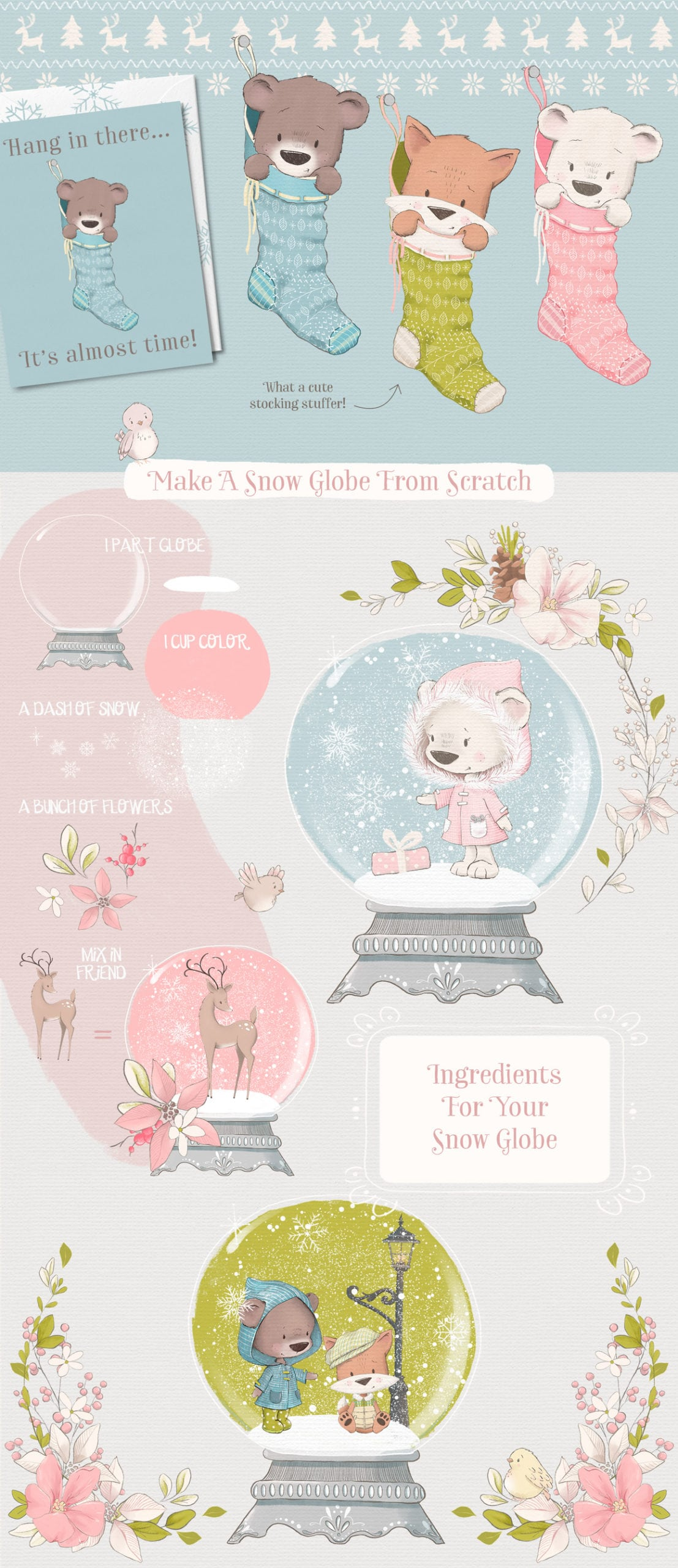 Snow Globe elements clipart illustrations