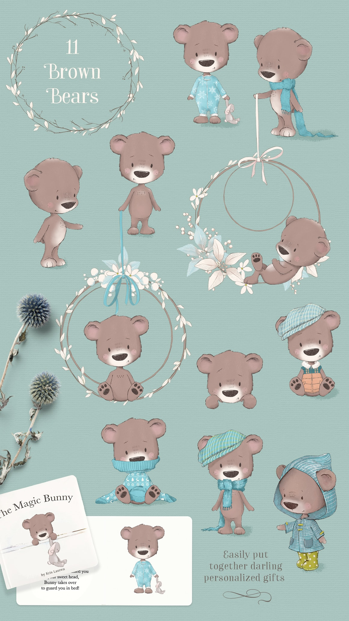 Cute Bears clipart illustrations