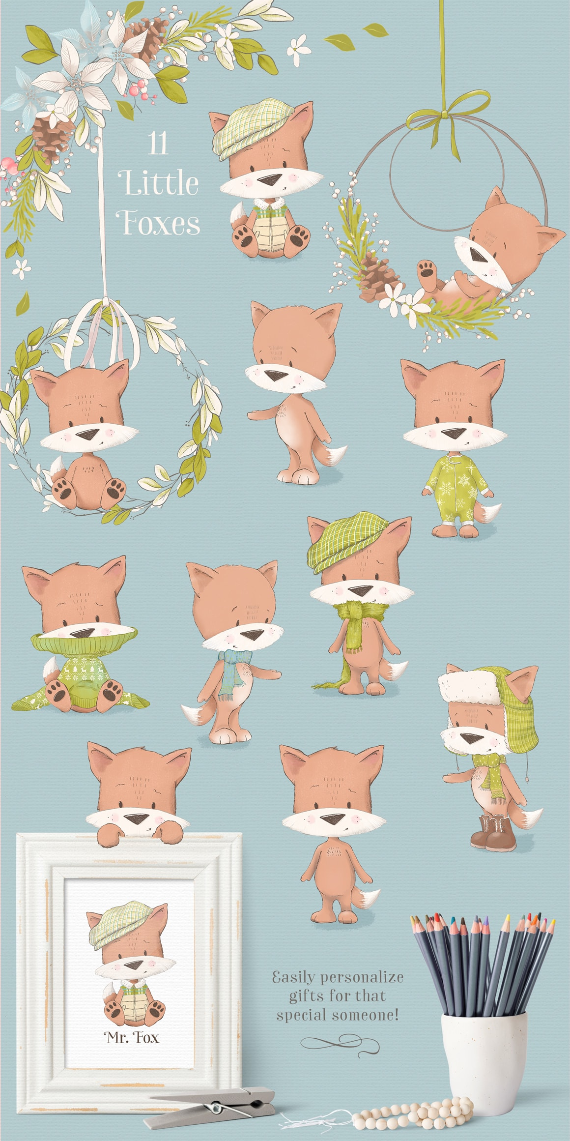 Little foxes clipart illustrations
