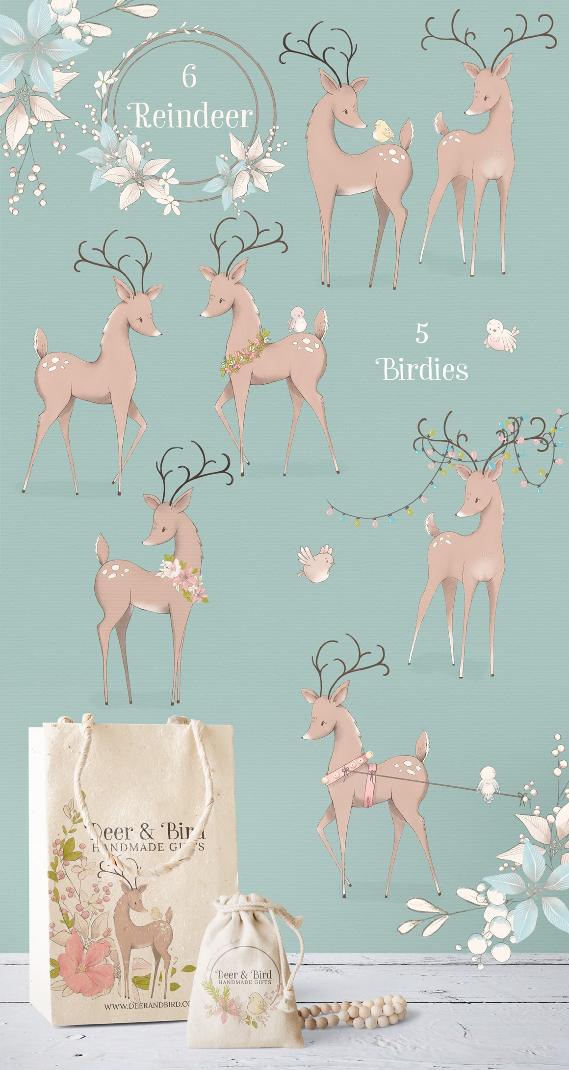 Reindeer and birdies clipart illustrations