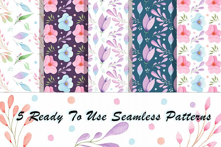 Free Flowers and Leaves Watercolour seamless patterns