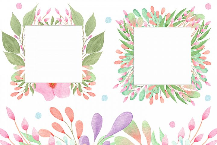 Free Flowers and Leaves Watercolour border illustrations