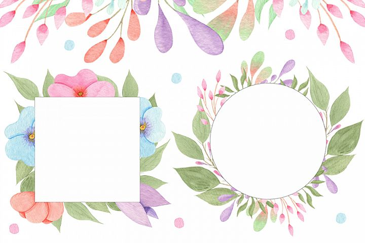 Free Flowers and Leaves Watercolour frames illustrations