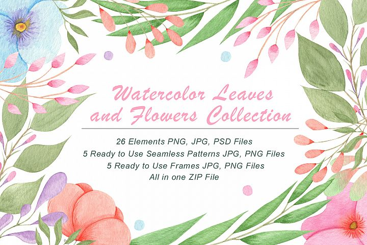 FREE – Watercolour Flowers and Leaves Illustrations
