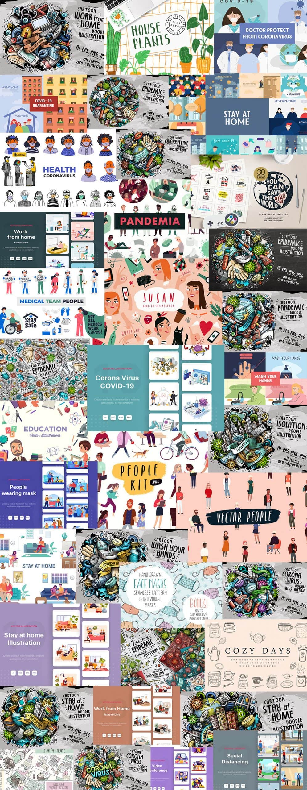 Covid 19 Graphics and Illustrations Bundle