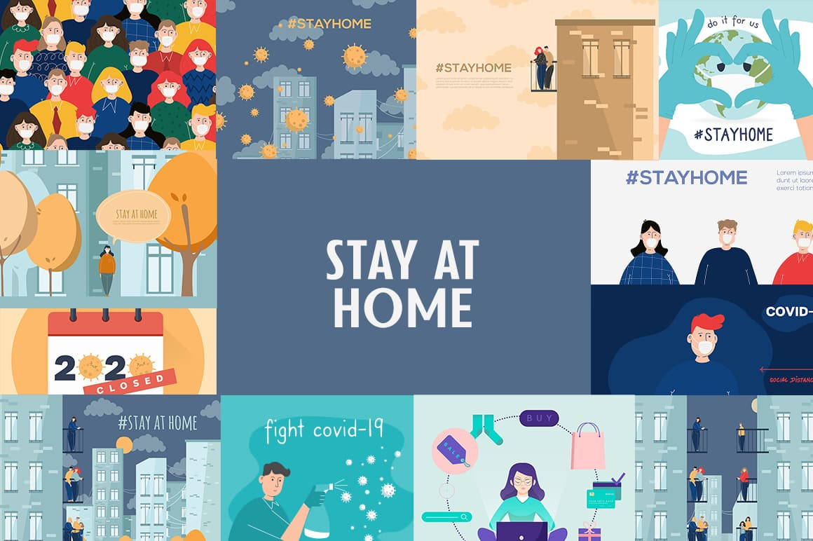 Stay At Home Illustrations by Mego-studio