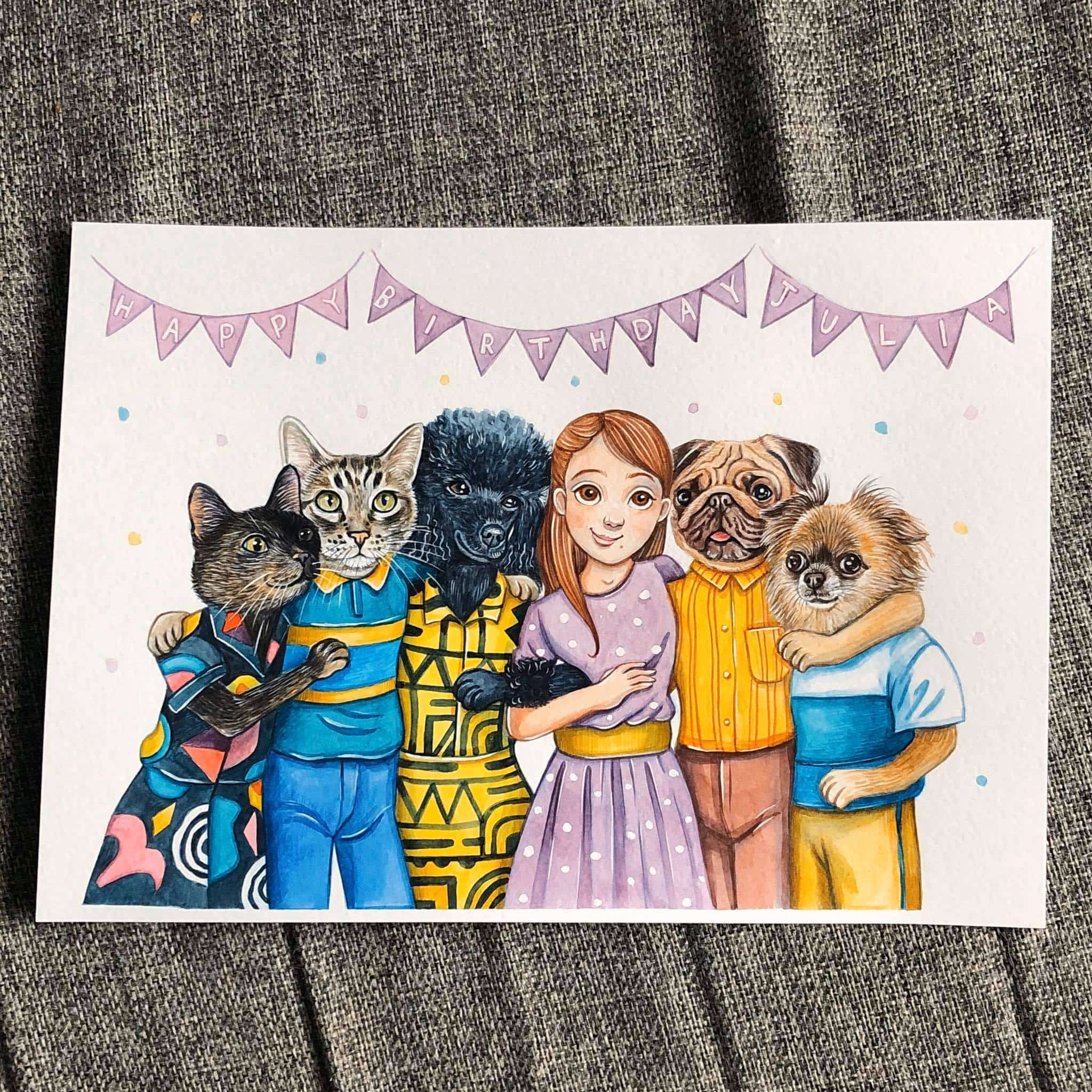 Aquarelle painting of an animal family from Valeria Susak