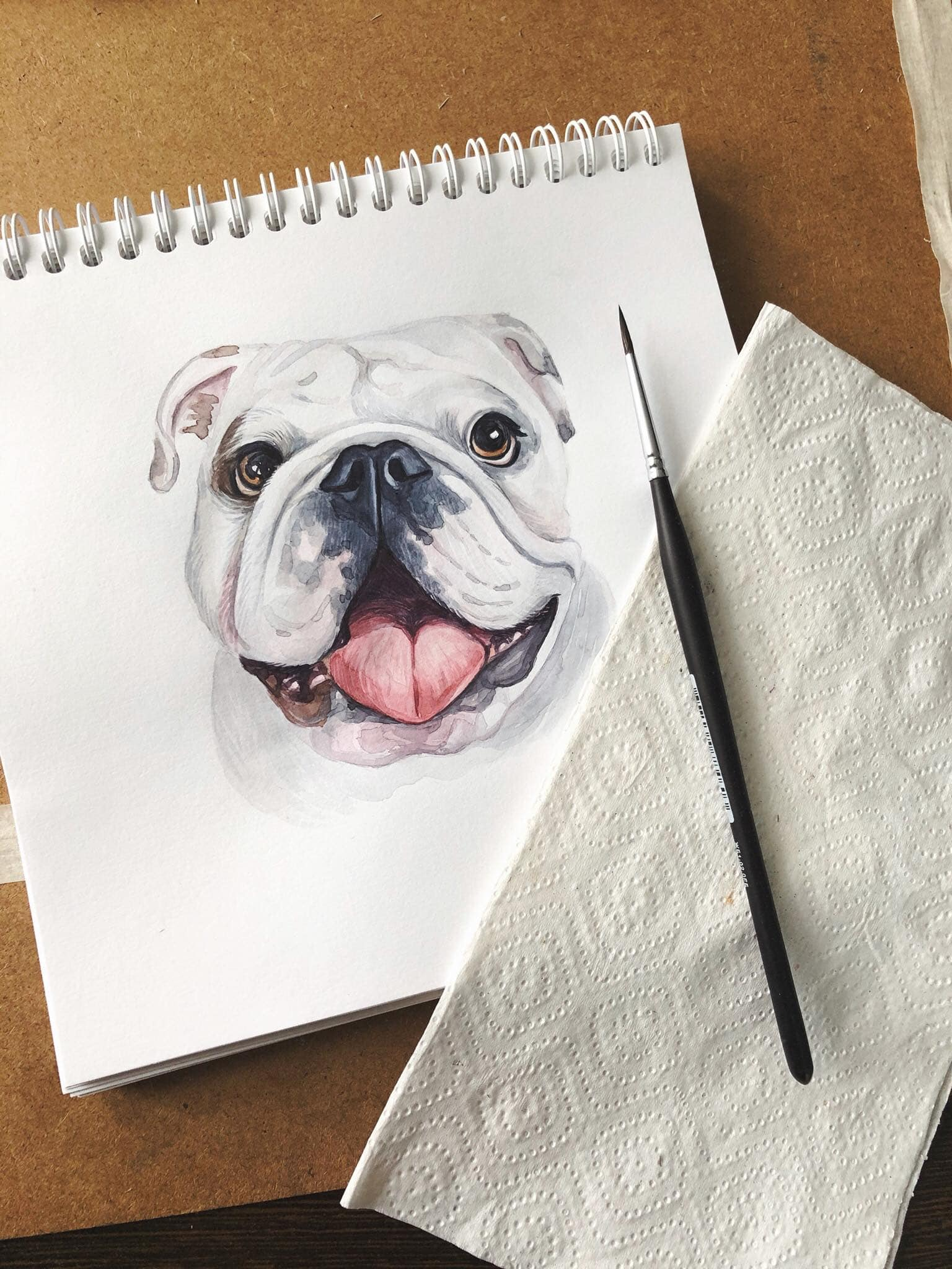 Watercolor art of a dog by Varleria Susik