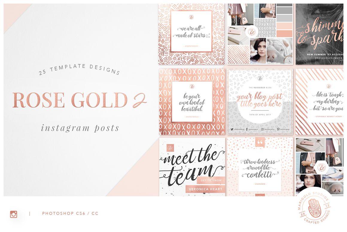 Rose Gold Foiled Instagram Templates Bundle