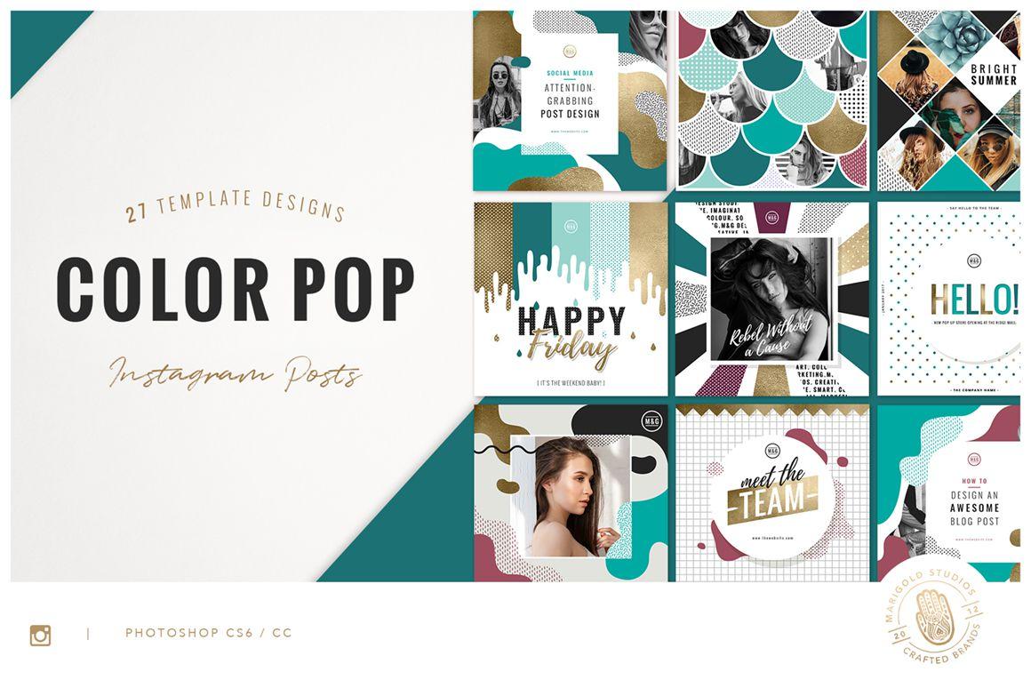 Color Pop Foiled Instagram Templates Bundle