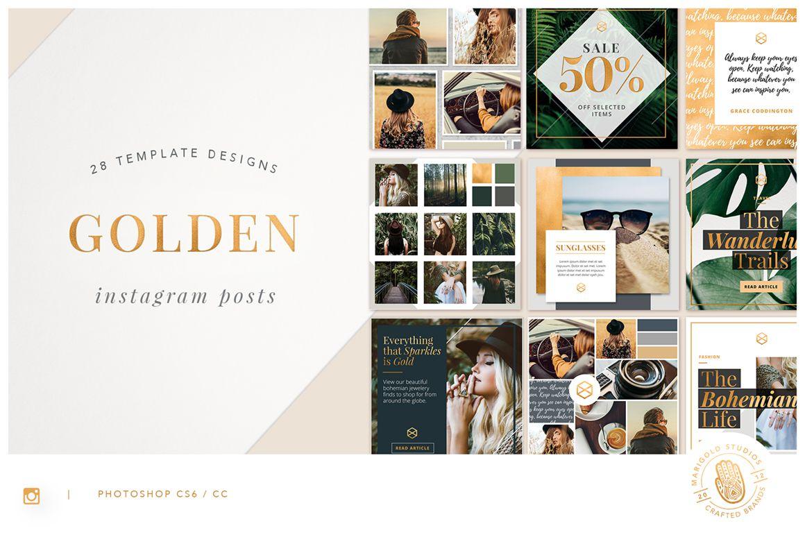 Golden Foiled Instagram Templates Bundle