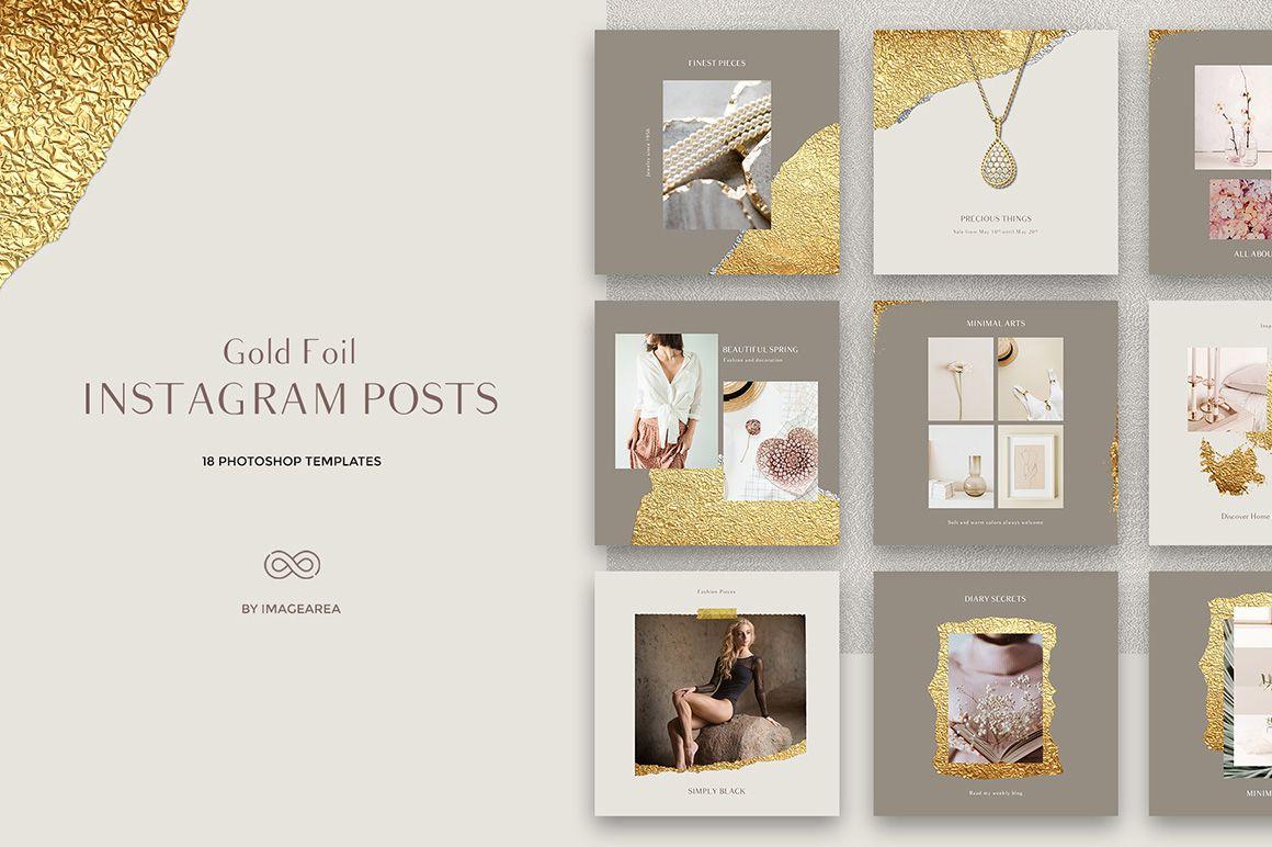 Gold Foil Instagram Posts Template
