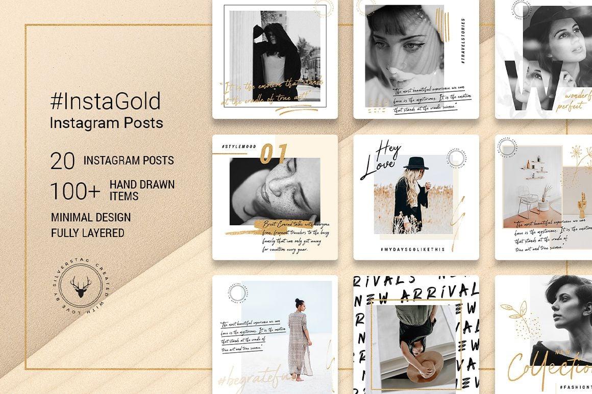 InstaGold Minimal Instagram Posts Template