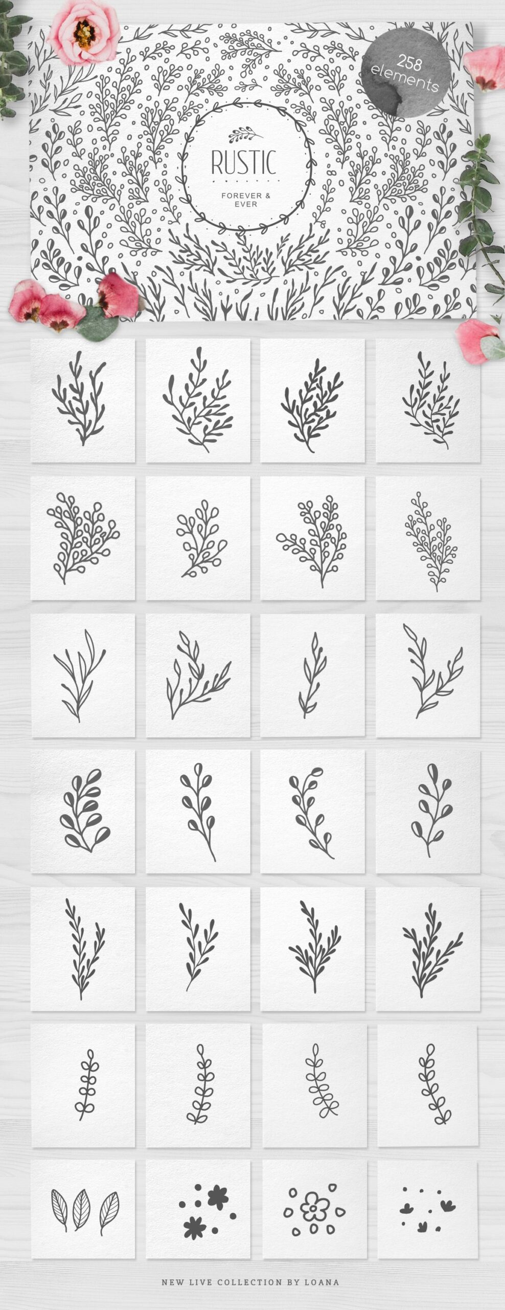 Free Floral Elements by Luba Vega - Exclusive at Xquissive.com