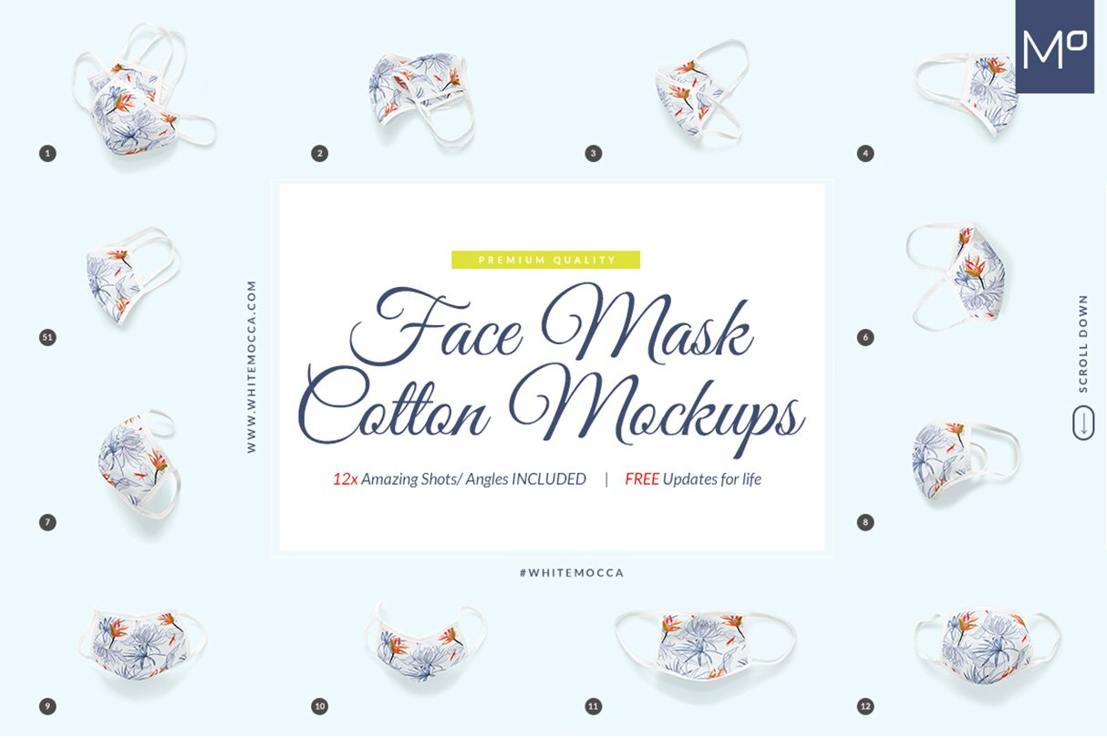 12 Face Mask Mockups in different angles