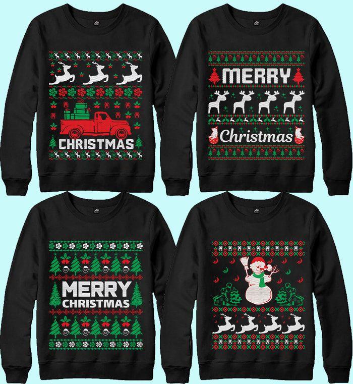 Ugly Christmas Sweater Designs Bundle