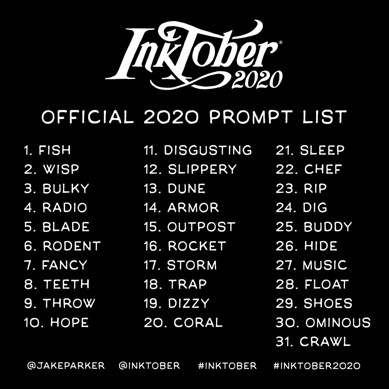 Inktober 2020 prompt list