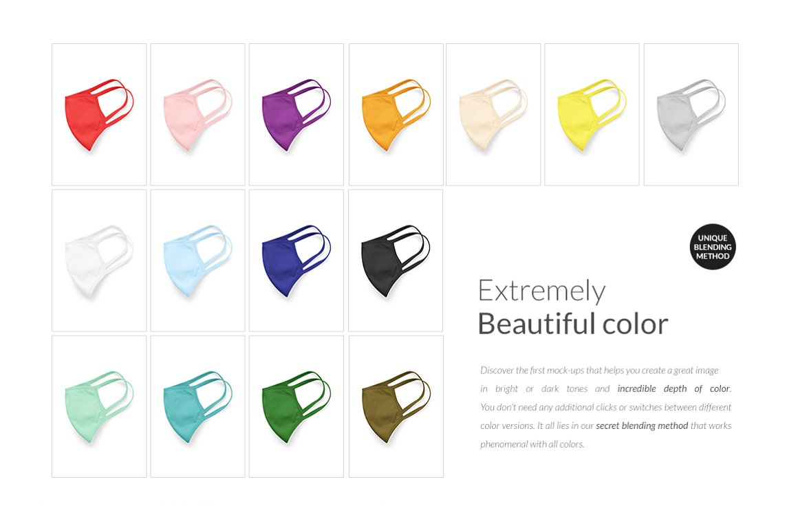 Face Mask Mockup Collection different colors