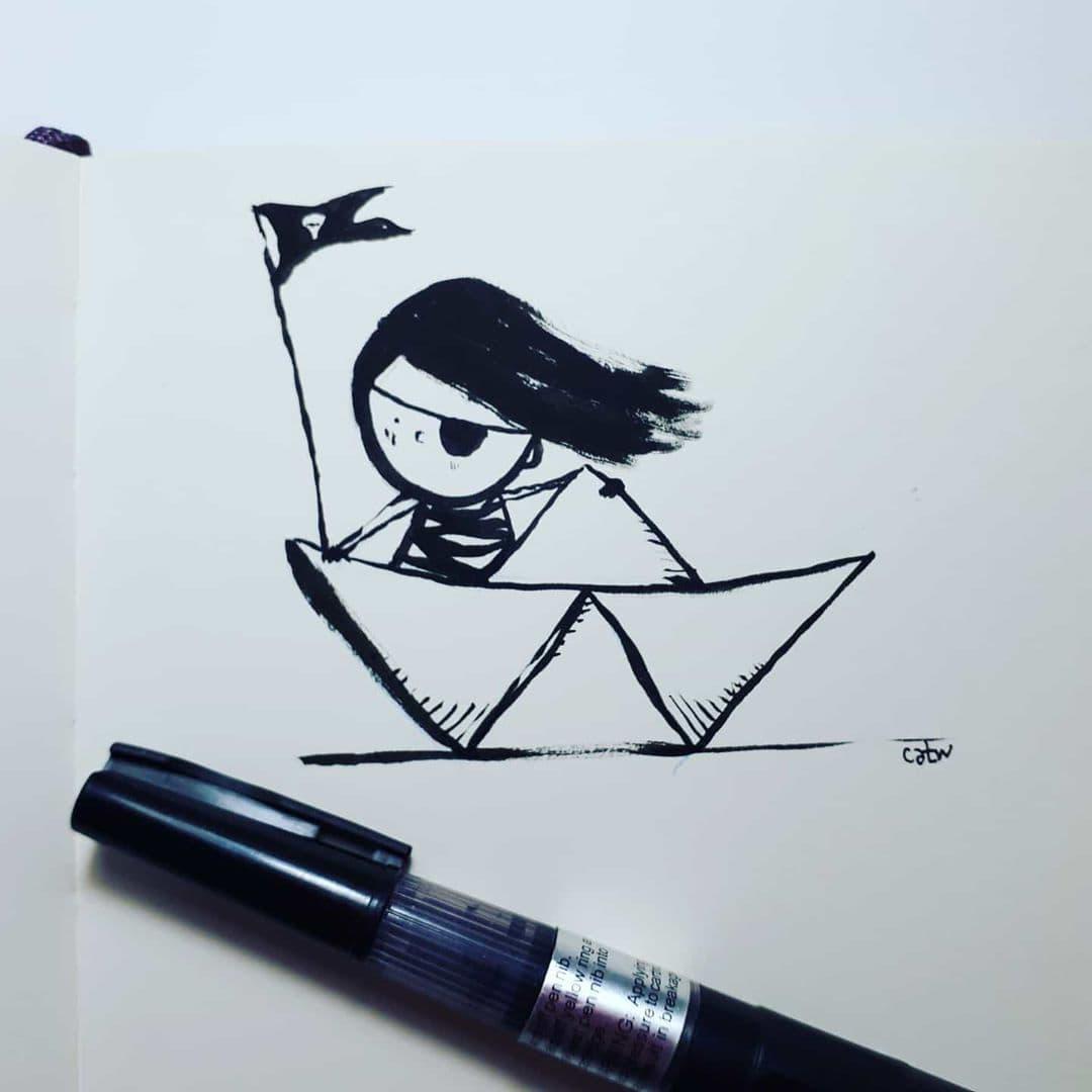 Girl in paper Boat by CATRU