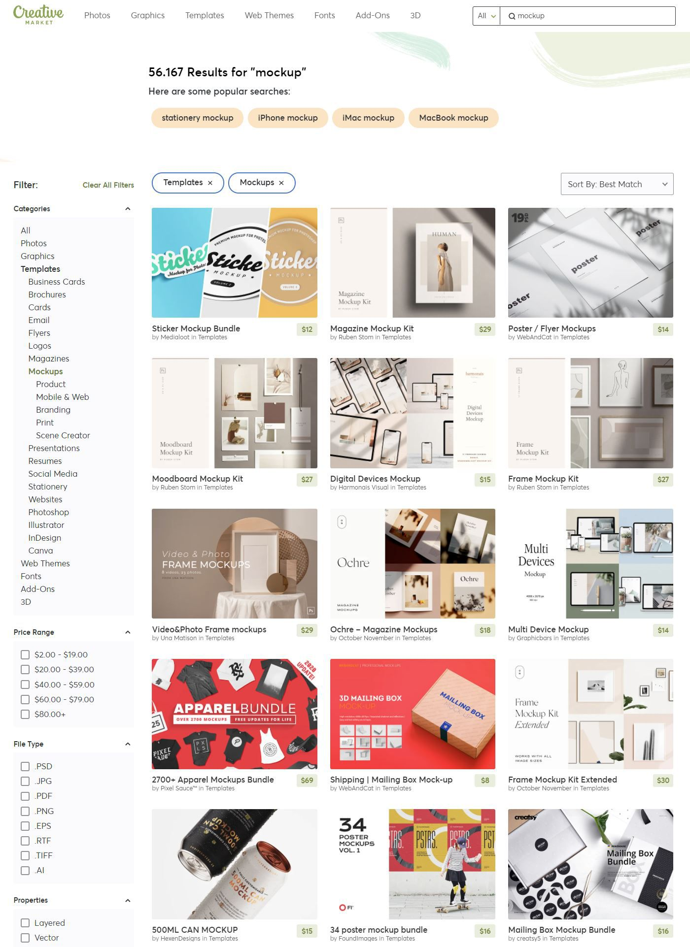 Find your Mockups and Templates at Creative Market with ease