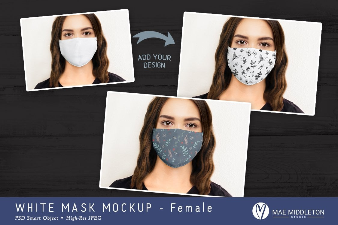 Face mask for Woman Mockup Template Example