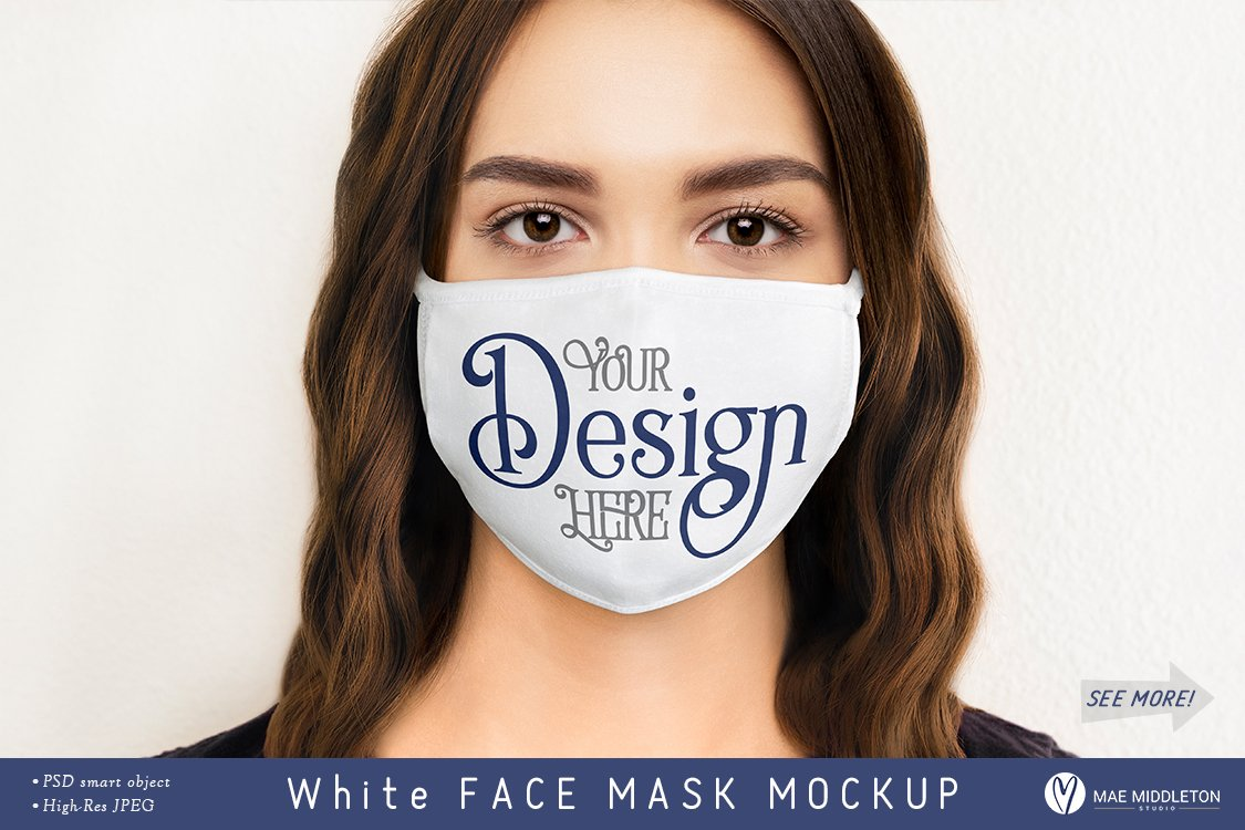 Face mask for Woman Mockup Template