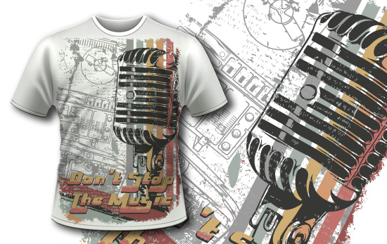 FREE – Retro Microphone T-shirt Design