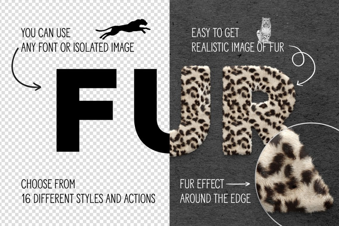 Fur Styles Actions Brushes - Photoshop Toolkit