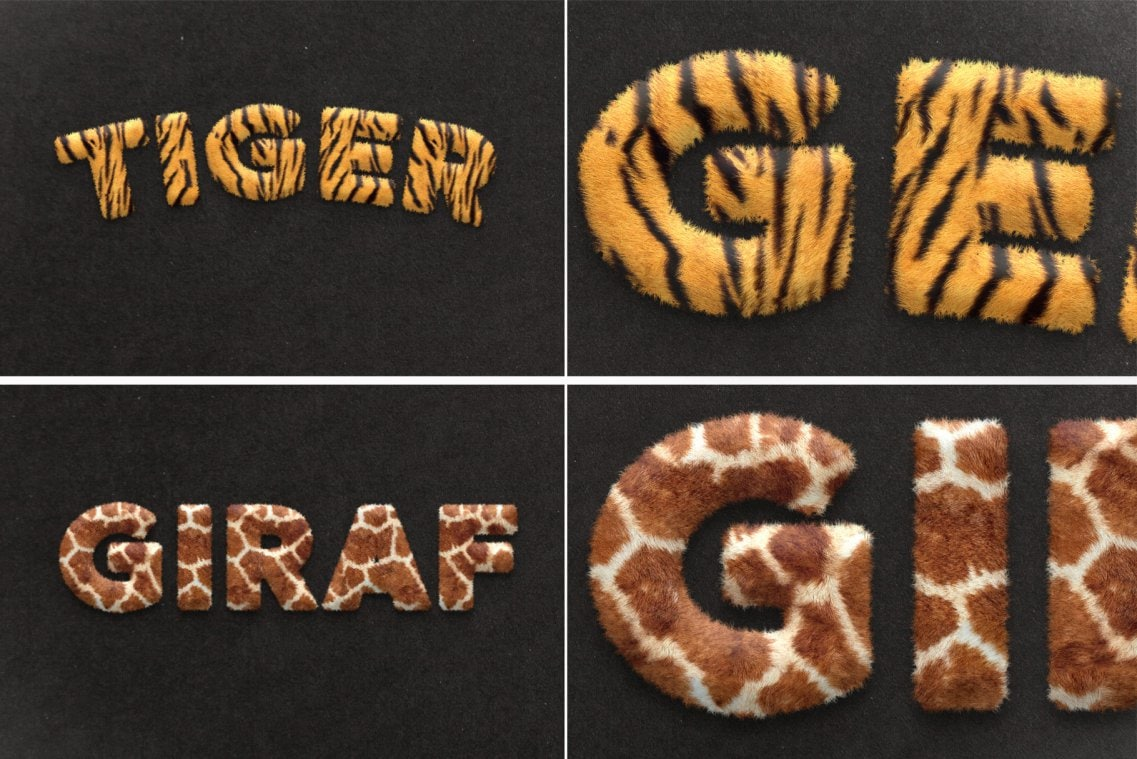 Fur Styles Actions Brushes - Tiger and Giraf fur