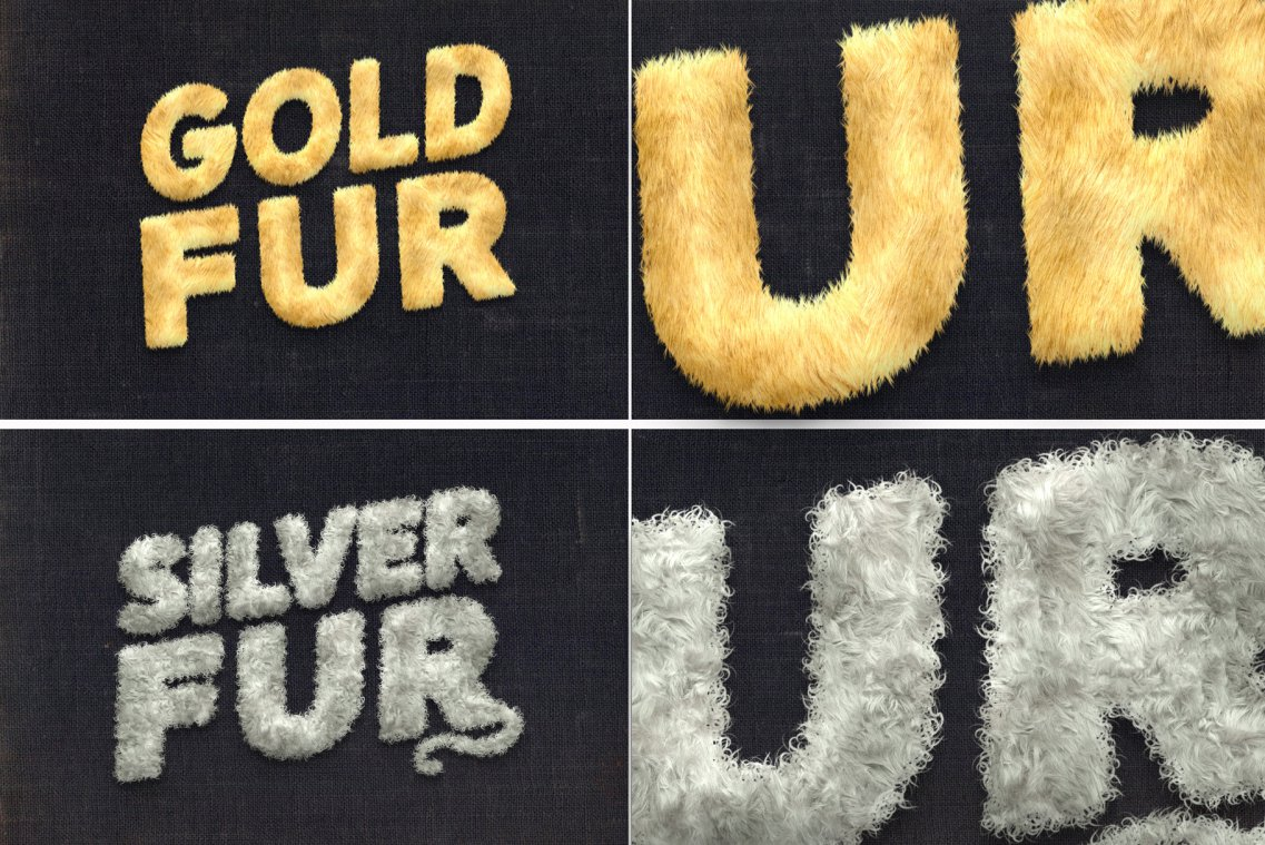 Fur Styles Actions Brushes Gold and Silver