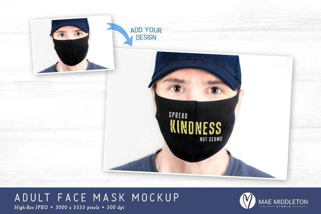 Male Face Mask Mockup Template 2