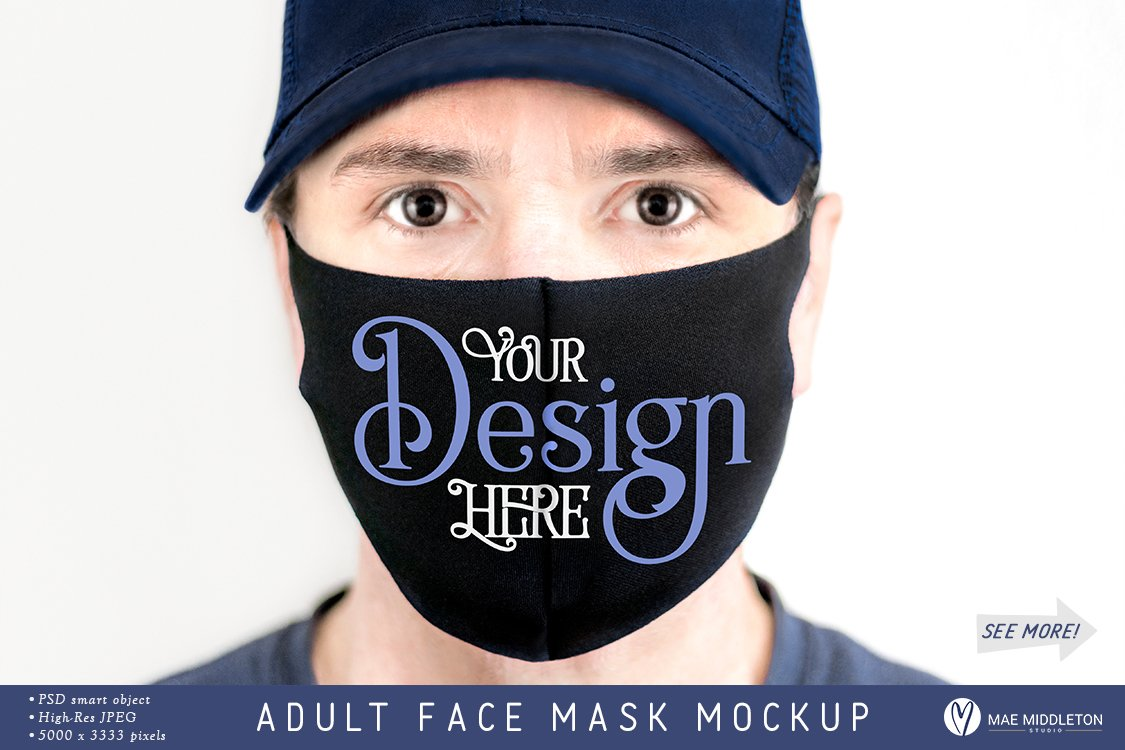 Male Face Mask Mockup Template