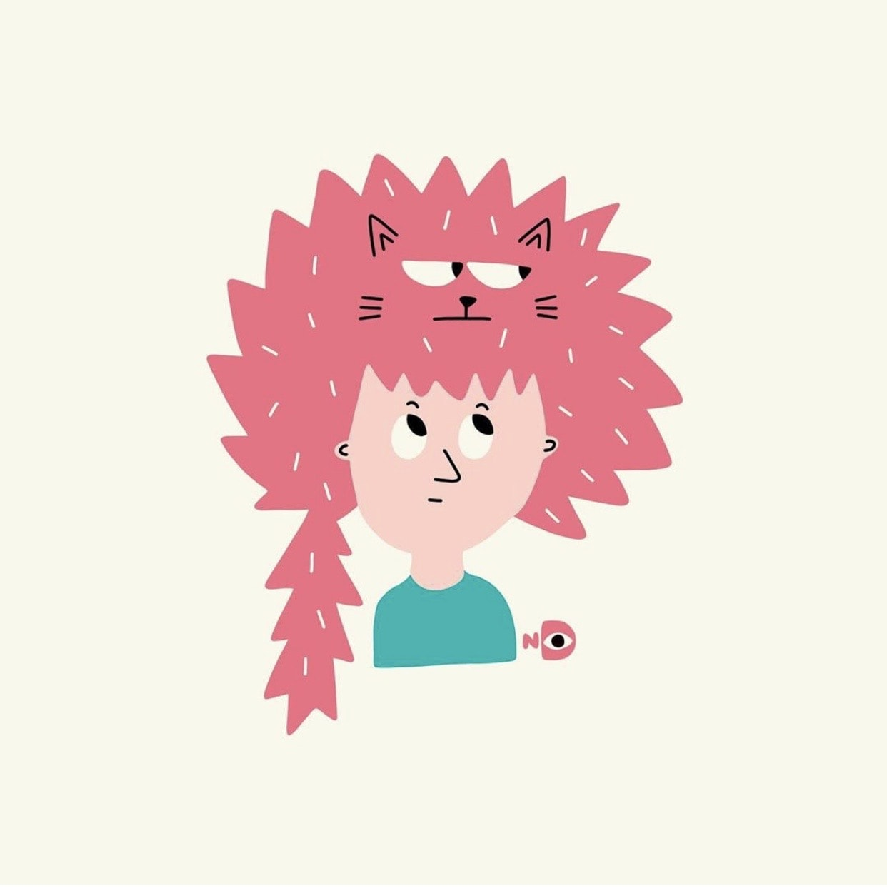 Illustration of girl with funny cat on her head by Nina Dzyvulska