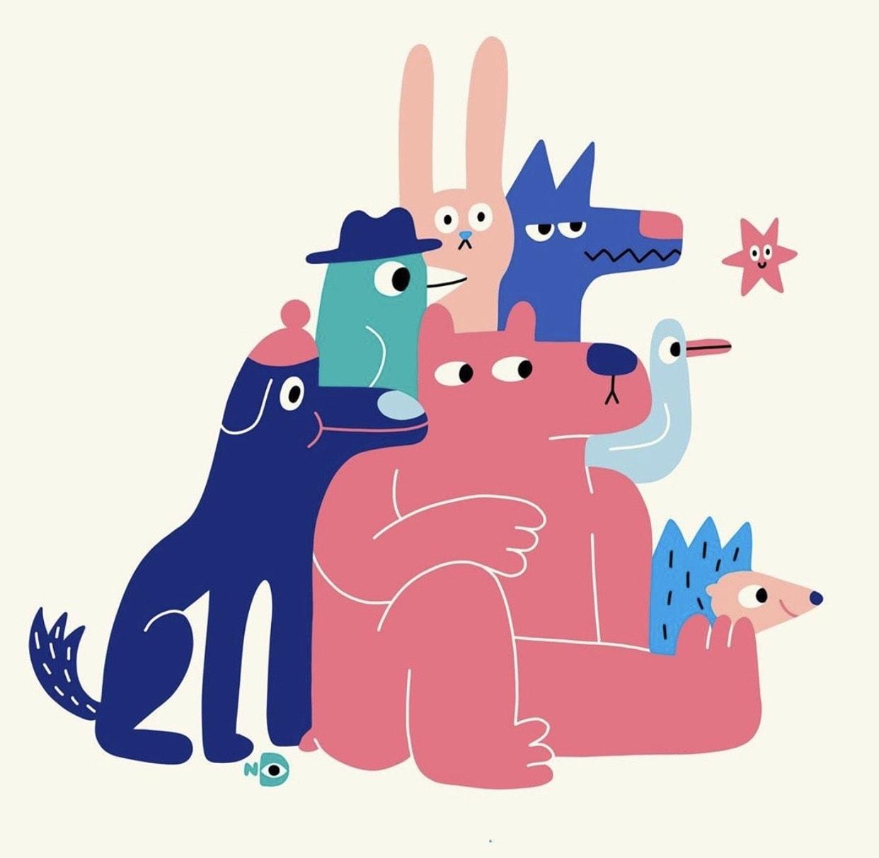 Illustrations of cute animals by Nina Dzyvulska
