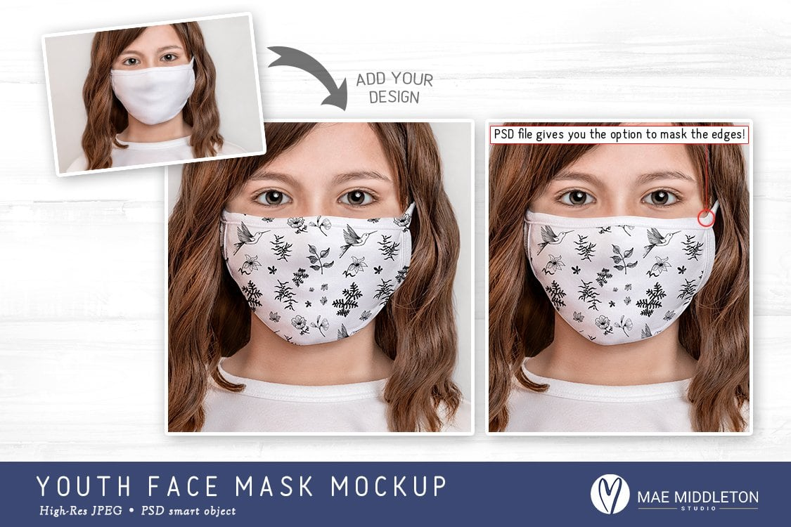 Youth Face Mask Mockup template